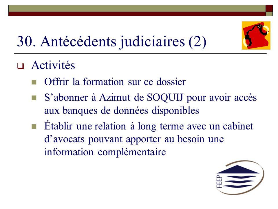 30. Antécédents judiciaires (2) Activités Offrir la formation sur ce dossier Sabonner à Azimut de SOQUIJ pour avoir accès aux banques de données dispo