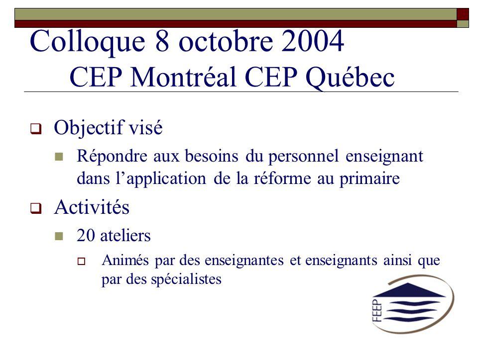 Colloque 8 octobre 2004 CEP Montréal CEP Québec Objectif visé Répondre aux besoins du personnel enseignant dans lapplication de la réforme au primaire