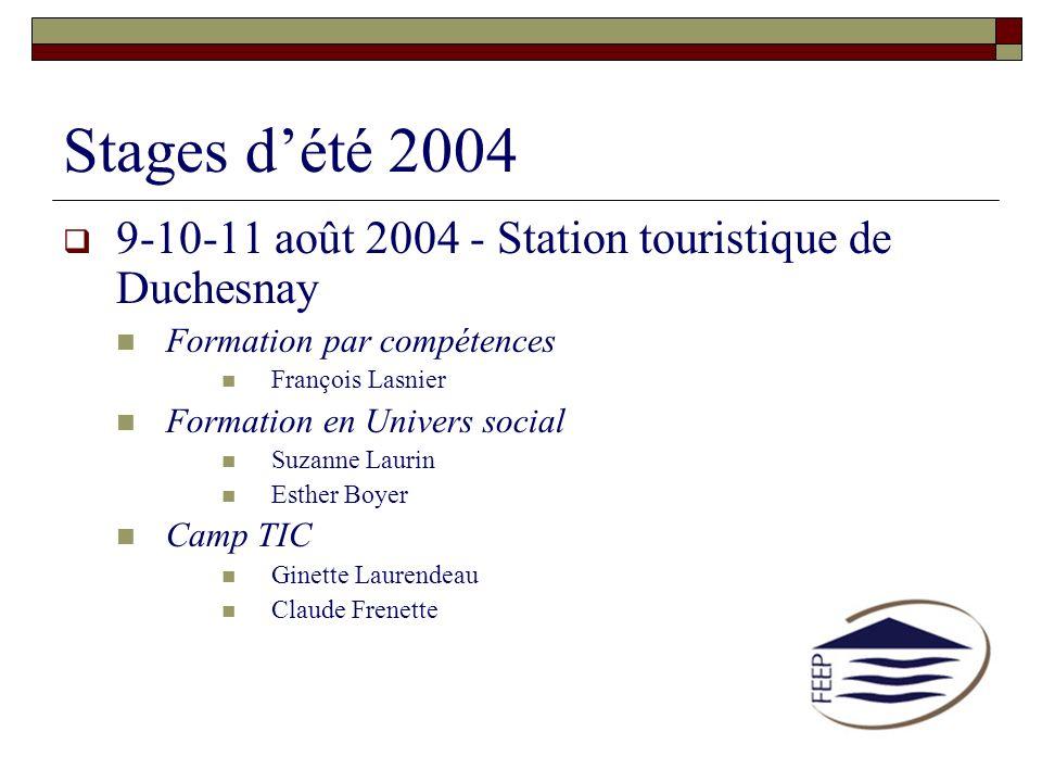 9-10-11 août 2004 - Station touristique de Duchesnay Formation par compétences François Lasnier Formation en Univers social Suzanne Laurin Esther Boye