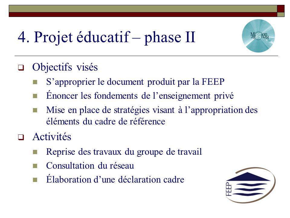 4. Projet éducatif – phase II Objectifs visés Sapproprier le document produit par la FEEP Énoncer les fondements de lenseignement privé Mise en place