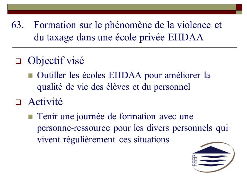 63.Formation sur le phénomène de la violence et du taxage dans une école privée EHDAA Objectif visé Outiller les écoles EHDAA pour améliorer la qualit