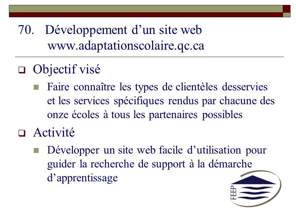 70.Développement dun site web www.adaptationscolaire.qc.ca Objectif visé Faire connaître les types de clientèles desservies et les services spécifique