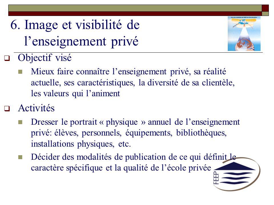 6. Image et visibilité de lenseignement privé Objectif visé Mieux faire connaître lenseignement privé, sa réalité actuelle, ses caractéristiques, la d