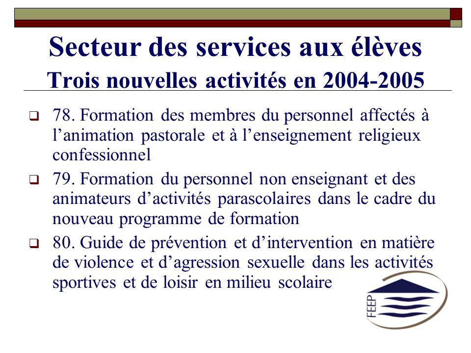 Secteur des services aux élèves Trois nouvelles activités en 2004-2005 78. Formation des membres du personnel affectés à lanimation pastorale et à len