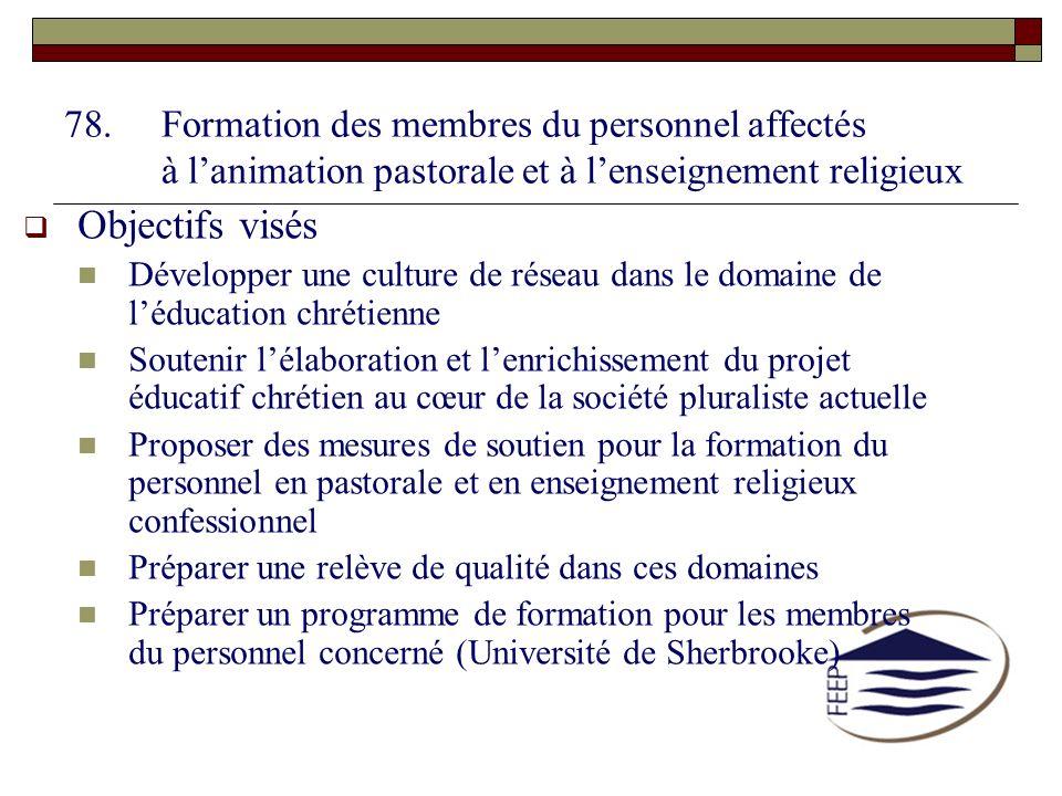 78.Formation des membres du personnel affectés à lanimation pastorale et à lenseignement religieux Objectifs visés Développer une culture de réseau da