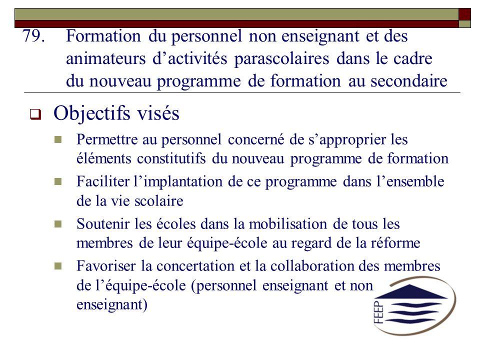79.Formation du personnel non enseignant et des animateurs dactivités parascolaires dans le cadre du nouveau programme de formation au secondaire Obje