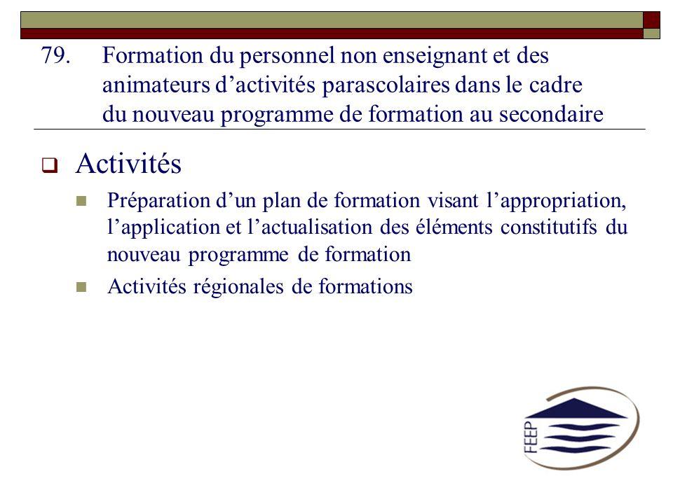 79.Formation du personnel non enseignant et des animateurs dactivités parascolaires dans le cadre du nouveau programme de formation au secondaire Acti