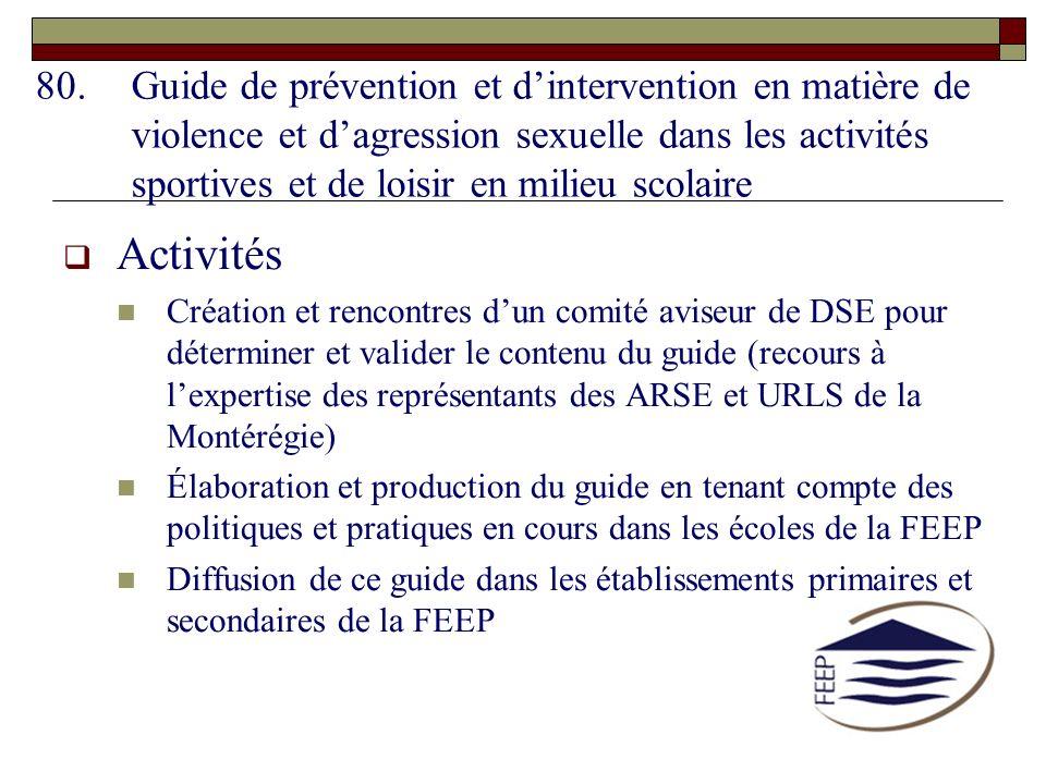 80.Guide de prévention et dintervention en matière de violence et dagression sexuelle dans les activités sportives et de loisir en milieu scolaire Act