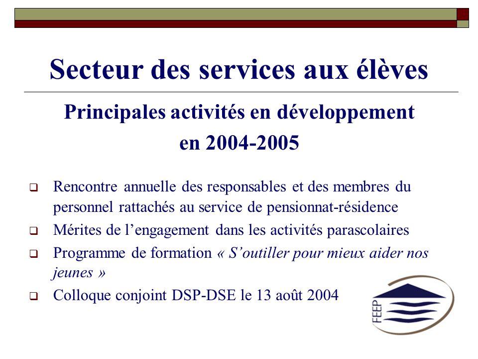 Secteur des services aux élèves Principales activités en développement en 2004-2005 Rencontre annuelle des responsables et des membres du personnel ra
