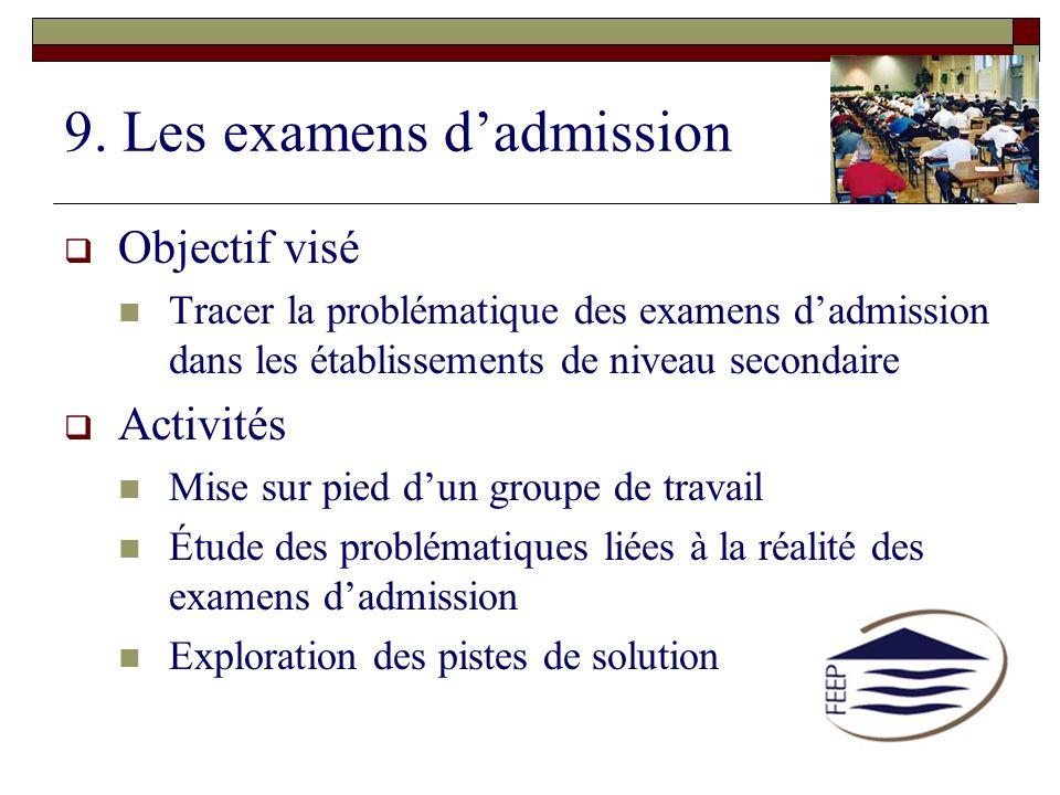 9. Les examens dadmission Objectif visé Tracer la problématique des examens dadmission dans les établissements de niveau secondaire Activités Mise sur