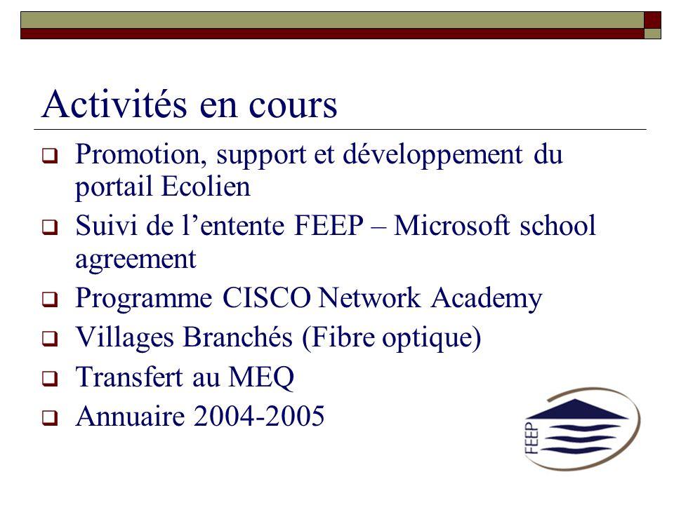 Activités en cours Promotion, support et développement du portail Ecolien Suivi de lentente FEEP – Microsoft school agreement Programme CISCO Network