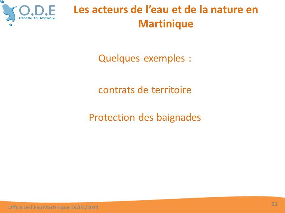 Les acteurs de leau et de la nature en Martinique Quelques exemples : contrats de territoire Protection des baignades Office De lEau Martinique 19/05/2014 21