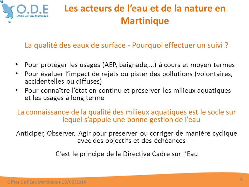 La qualité des eaux de surface - Qui effectue le suivi des cours deau.