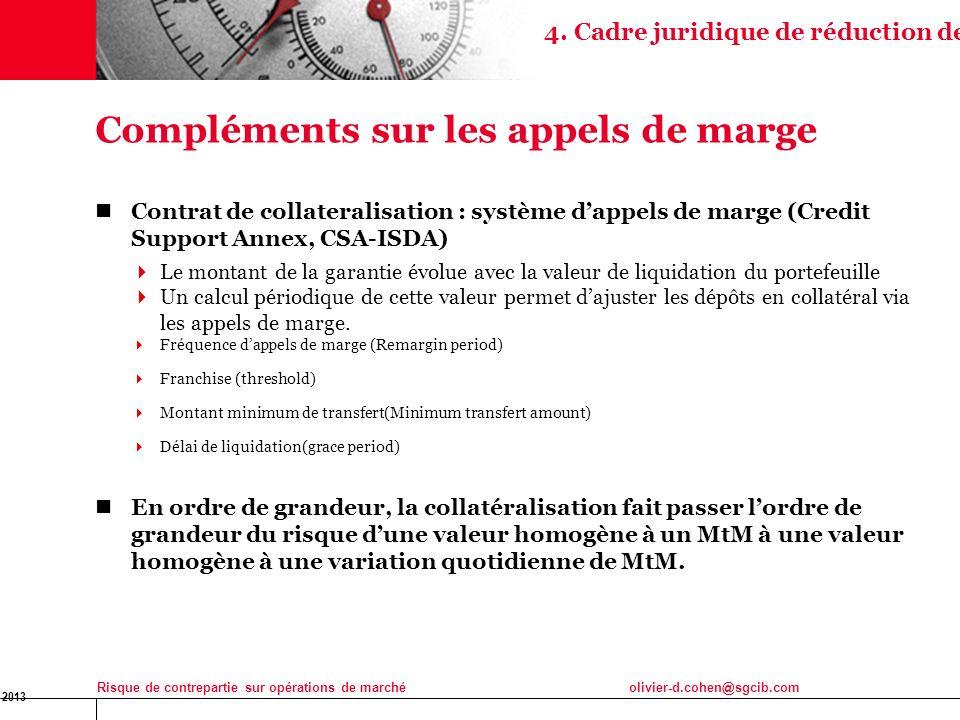16 Jan 2013 Risque de contrepartie sur opérations de marchéolivier-d.cohen@sgcib.com 22 Contrat de collateralisation : système dappels de marge (Credi