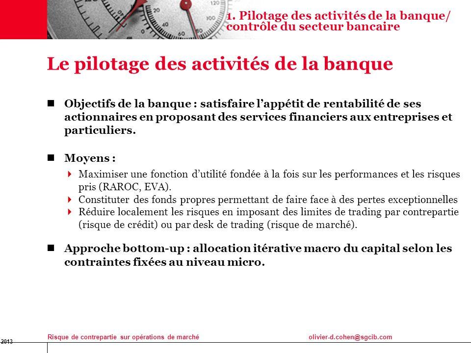 16 Jan 2013 Risque de contrepartie sur opérations de marchéolivier-d.cohen@sgcib.com 3 Le pilotage des activités de la banque Objectifs de la banque :