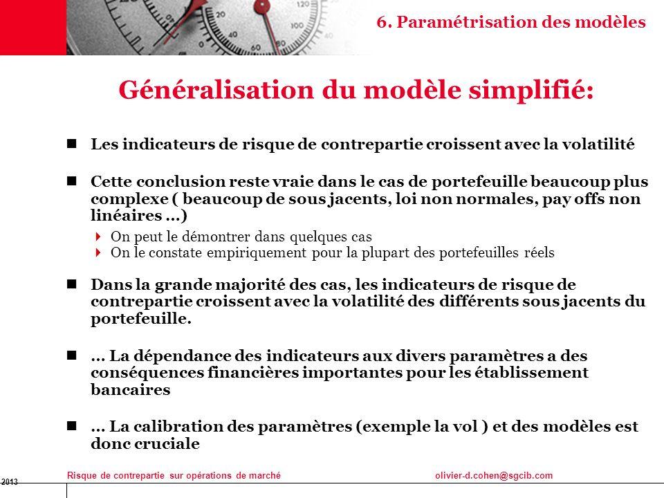 16 Jan 2013 Risque de contrepartie sur opérations de marchéolivier-d.cohen@sgcib.com 31 Généralisation du modèle simplifié: Les indicateurs de risque