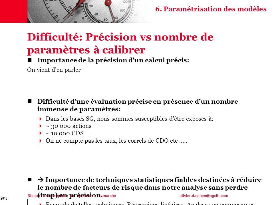 16 Jan 2013 Risque de contrepartie sur opérations de marchéolivier-d.cohen@sgcib.com Difficulté: Précision vs nombre de paramètres à calibrer Importan