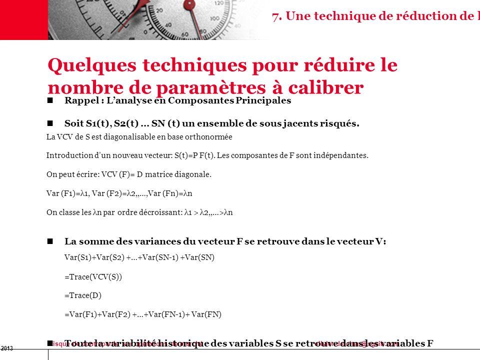 16 Jan 2013 Risque de contrepartie sur opérations de marchéolivier-d.cohen@sgcib.com Quelques techniques pour réduire le nombre de paramètres à calibr
