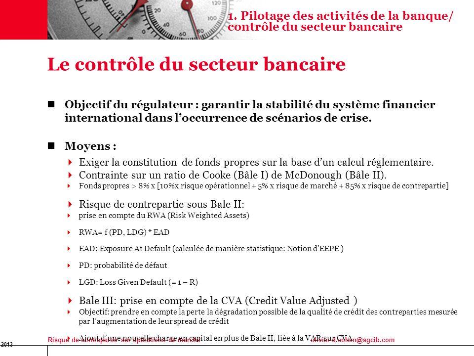 16 Jan 2013 Risque de contrepartie sur opérations de marchéolivier-d.cohen@sgcib.com 4 Le contrôle du secteur bancaire Objectif du régulateur : garant
