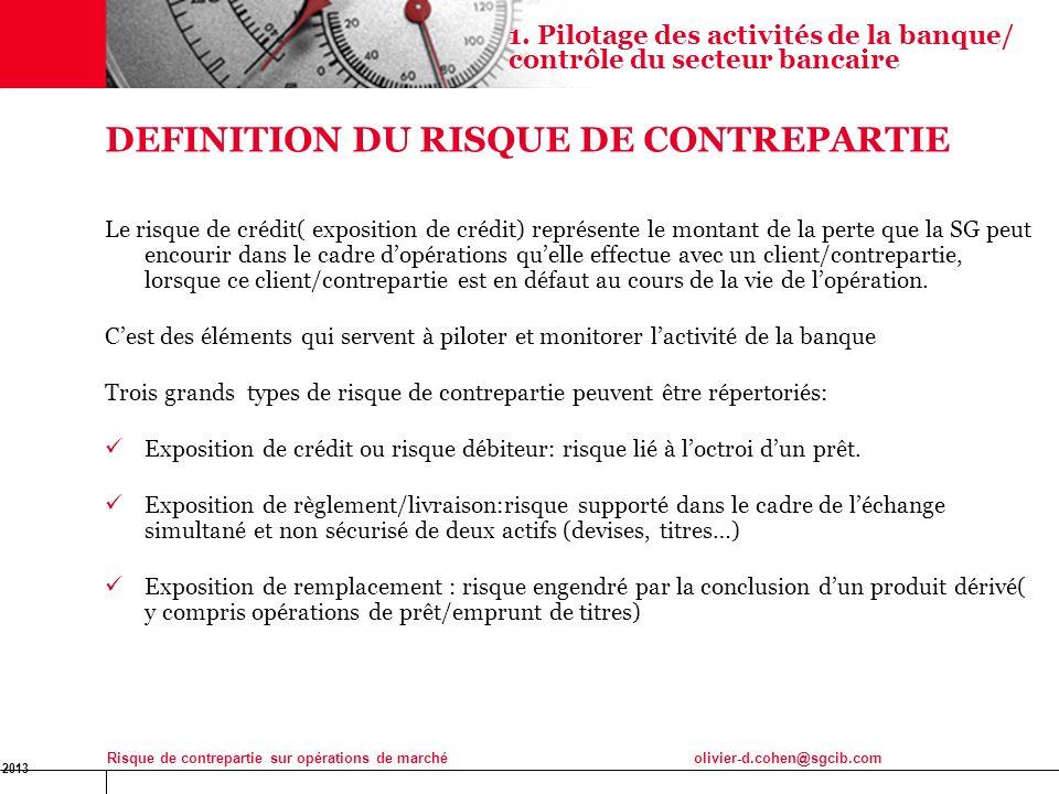 16 Jan 2013 Risque de contrepartie sur opérations de marchéolivier-d.cohen@sgcib.com 5 DEFINITION DU RISQUE DE CONTREPARTIE Le risque de crédit( expos