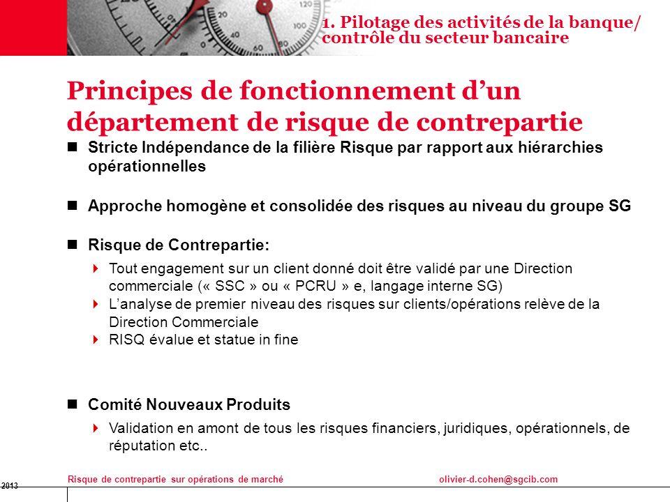 16 Jan 2013 Risque de contrepartie sur opérations de marchéolivier-d.cohen@sgcib.com 7 Principes de fonctionnement dun département de risque de contre
