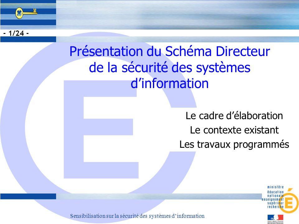 E Sensibilisation sur la sécurité des systèmes dinformation - 1/24 - Le cadre délaboration Le contexte existant Les travaux programmés Présentation du Schéma Directeur de la sécurité des systèmes dinformation