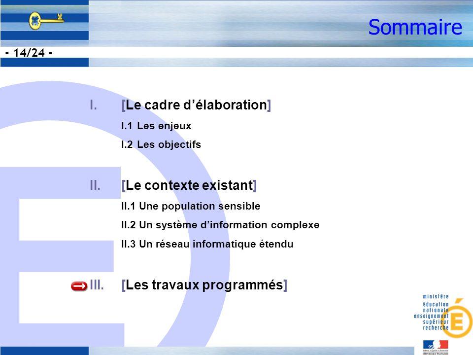 E - 14/24 - Sommaire I.[Le cadre délaboration] I.1Les enjeux I.2Les objectifs II.[Le contexte existant] II.1 Une population sensible II.2 Un système dinformation complexe II.3 Un réseau informatique étendu III.[Les travaux programmés]