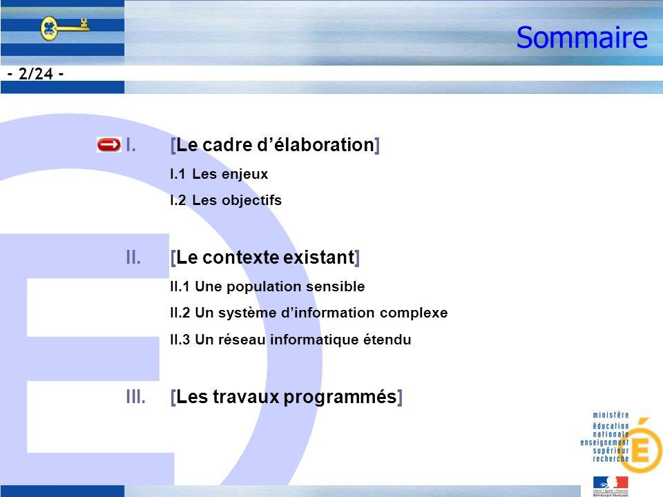 E - 2/24 - Sommaire I.[Le cadre délaboration] I.1Les enjeux I.2Les objectifs II.[Le contexte existant] II.1 Une population sensible II.2 Un système dinformation complexe II.3 Un réseau informatique étendu III.[Les travaux programmés]