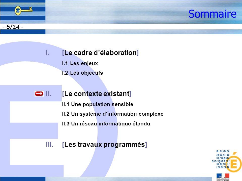 E - 5/24 - Sommaire I.[Le cadre délaboration] I.1Les enjeux I.2Les objectifs II.[Le contexte existant] II.1 Une population sensible II.2 Un système dinformation complexe II.3 Un réseau informatique étendu III.[Les travaux programmés]