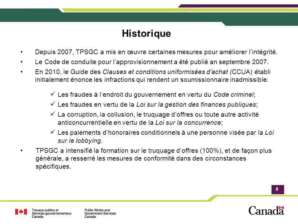 5 Historique Depuis 2007, TPSGC a mis en œuvre certaines mesures pour améliorer lintégrité.