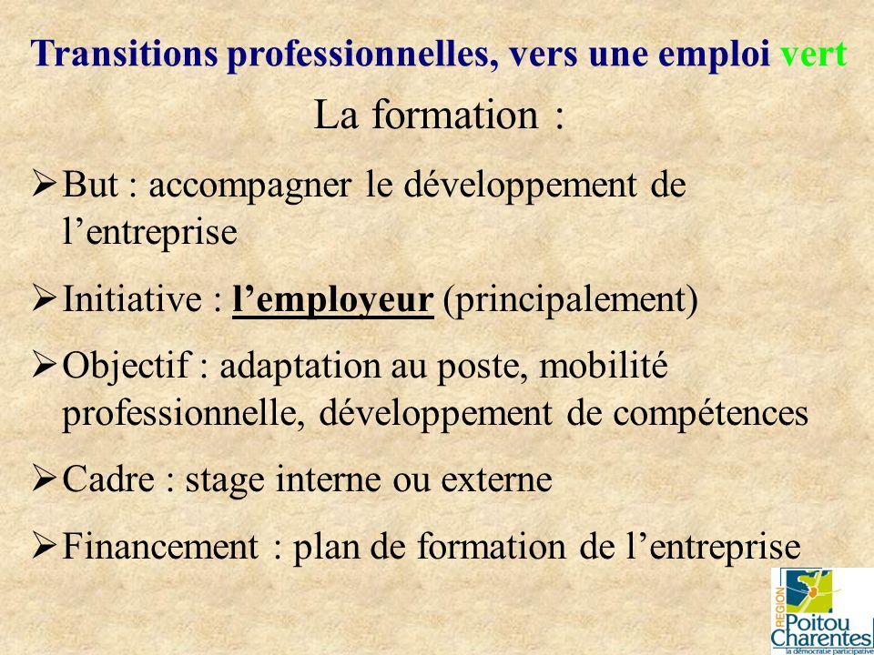 La formation : But : accompagner le développement de lentreprise Initiative : lemployeur (principalement) Objectif : adaptation au poste, mobilité pro
