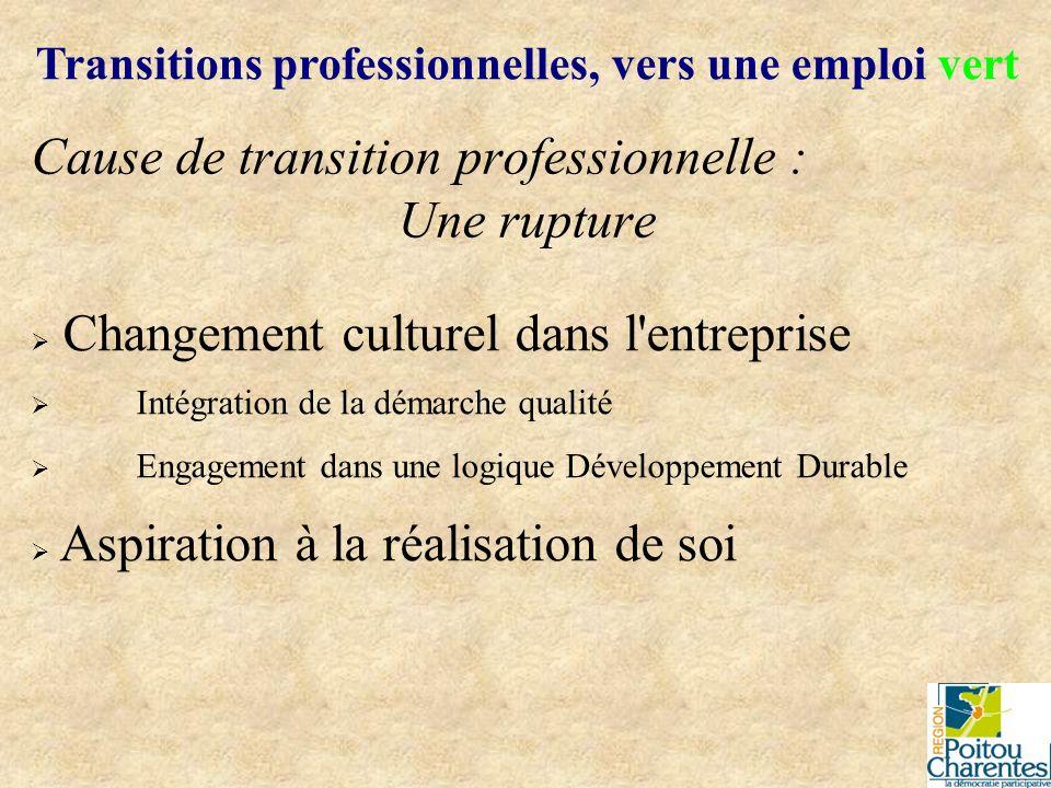 Cause de transition professionnelle : Une rupture Transitions professionnelles, vers une emploi vert Changement culturel dans l'entreprise Intégration