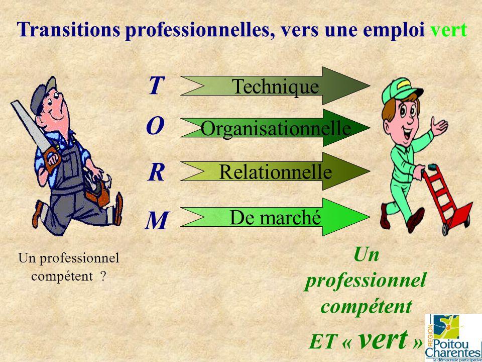 Transitions professionnelles, vers une emploi vert Un professionnel compétent ? O R M T Technique Organisationnelle Relationnelle De marché Un profess