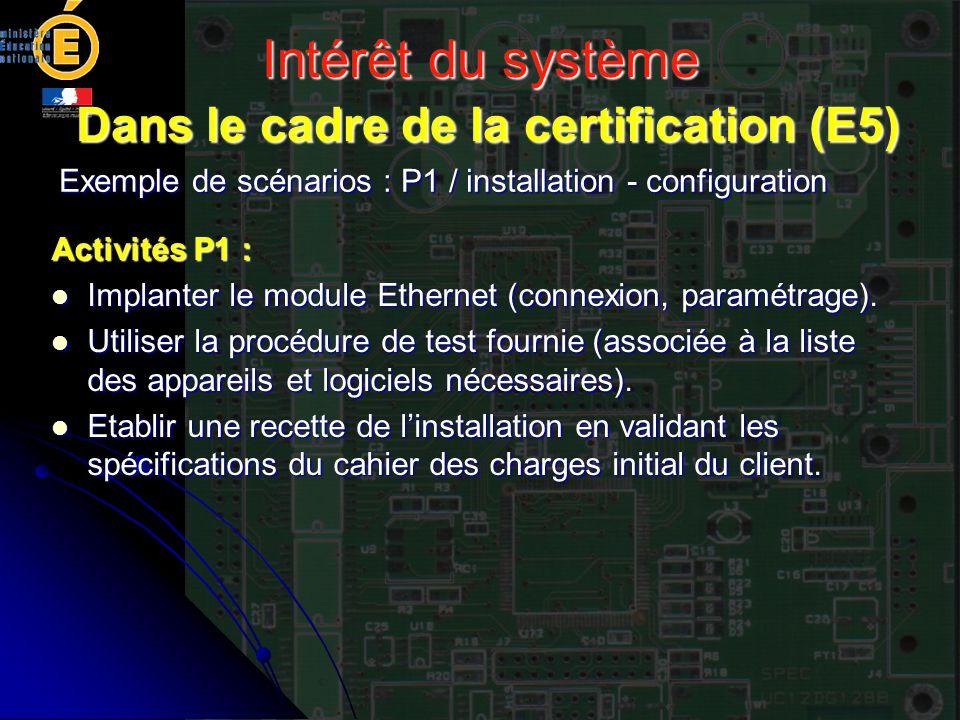 Intérêt du système Dans le cadre de la certification (E5) Exemple de scénarios : P1 / installation - configuration Activités P1 : Implanter le module