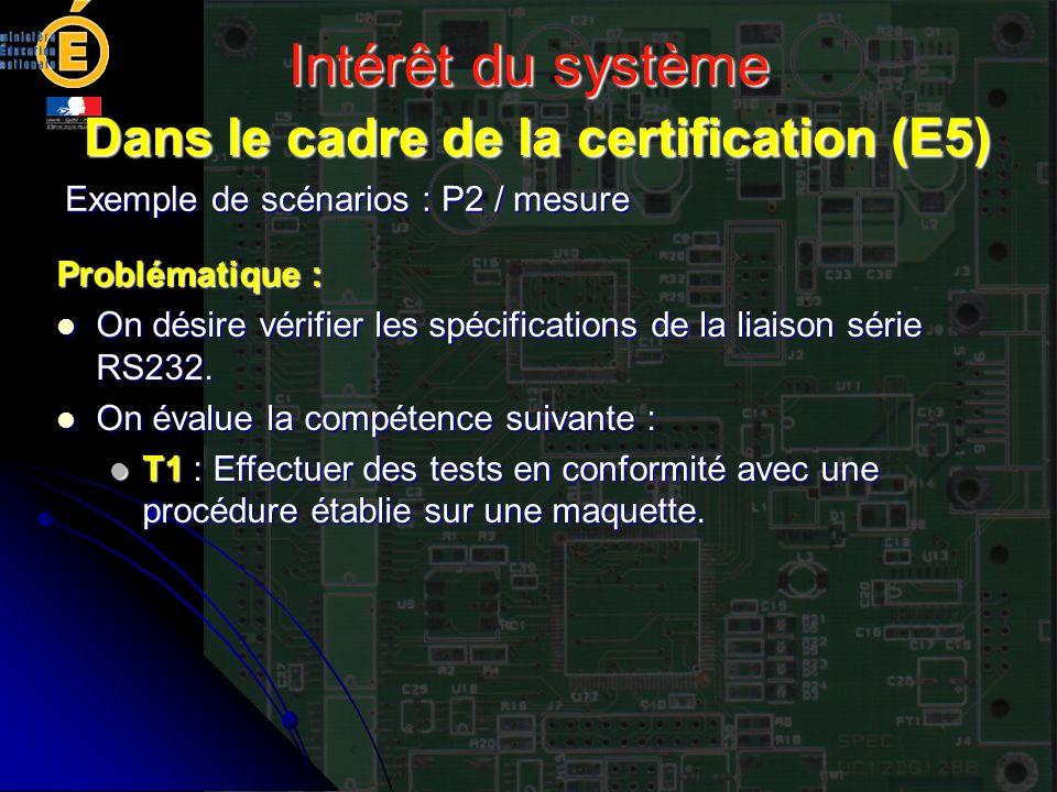 Intérêt du système Dans le cadre de la certification (E5) Exemple de scénarios : P2 / mesure Problématique : On désire vérifier les spécifications de