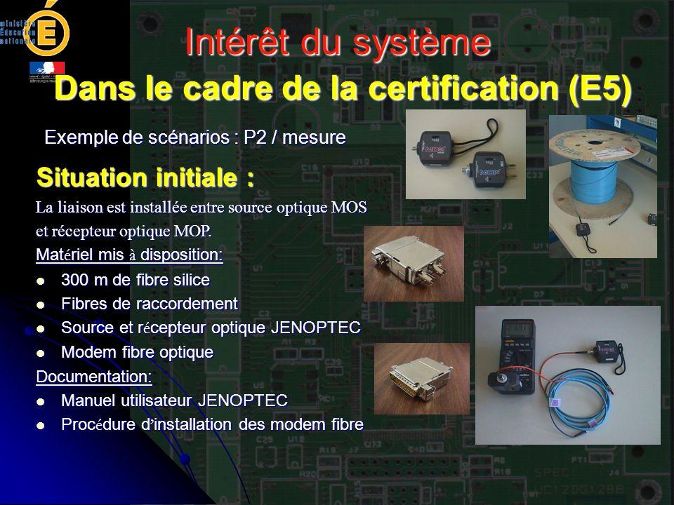 Intérêt du système Dans le cadre de la certification (E5) Exemple de scénarios : P2 / mesure Situation initiale : La liaison est installée entre sourc