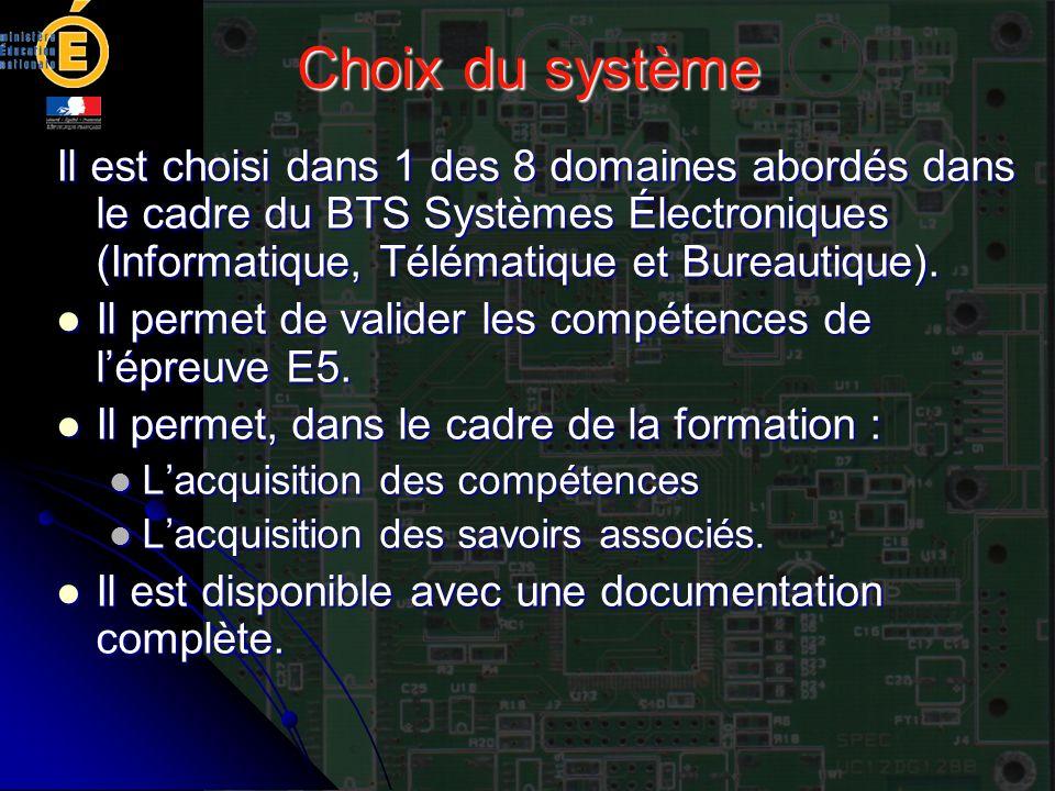 Choix du système Il est choisi dans 1 des 8 domaines abordés dans le cadre du BTS Systèmes Électroniques (Informatique, Télématique et Bureautique). I
