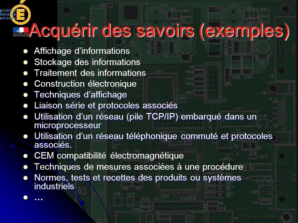 Acquérir des savoirs (exemples) Affichage dinformations Stockage des informations Traitement des informations Construction électronique Techniques daf