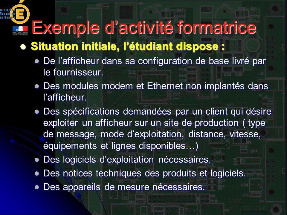 Exemple dactivité formatrice Situation initiale, létudiant dispose : Situation initiale, létudiant dispose : De lafficheur dans sa configuration de ba