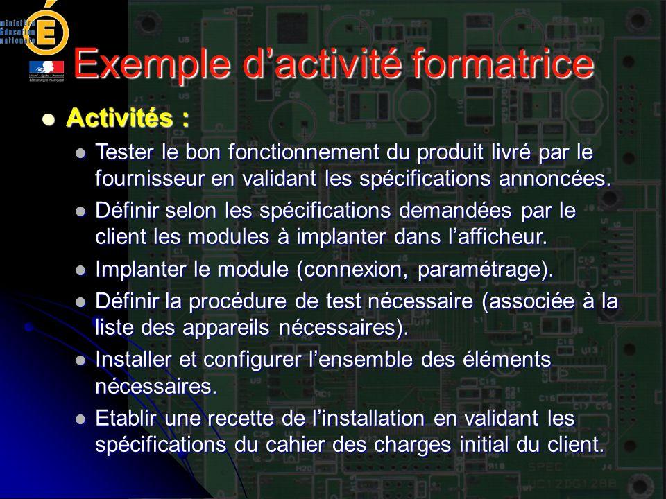 Exemple dactivité formatrice Activités : Activités : Tester le bon fonctionnement du produit livré par le fournisseur en validant les spécifications a
