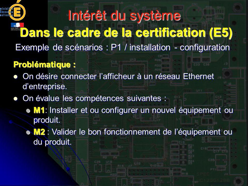 Intérêt du système Dans le cadre de la certification (E5) Exemple de scénarios : P1 / installation - configuration Problématique : On désire connecter