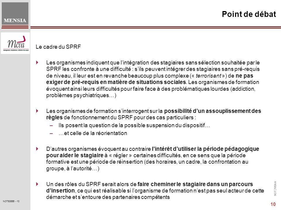 NOT398AA MENSIA 10 NOT508BB - 10 Point de débat Le cadre du SPRF Les organismes indiquent que lintégration des stagiaires sans sélection souhaitée par