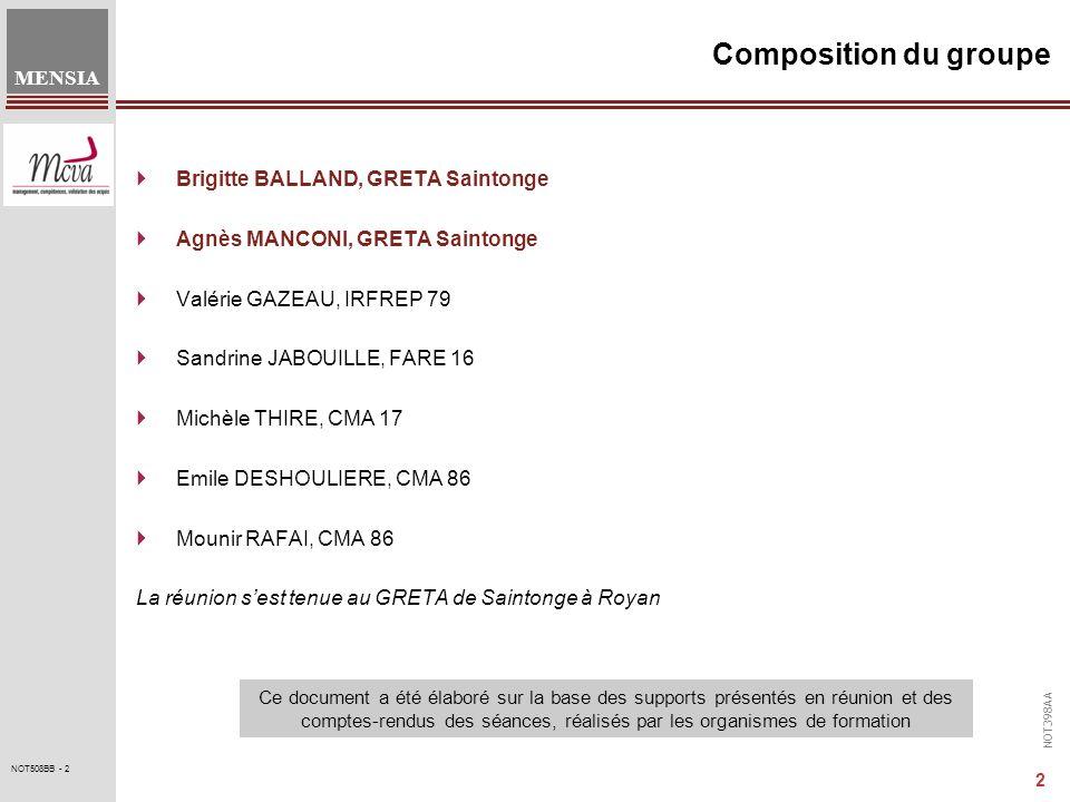 NOT398AA MENSIA 2 NOT508BB - 2 Composition du groupe Brigitte BALLAND, GRETA Saintonge Agnès MANCONI, GRETA Saintonge Valérie GAZEAU, IRFREP 79 Sandri
