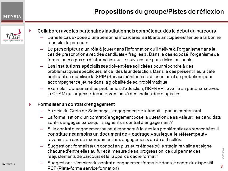 NOT398AA MENSIA 9 NOT508BB - 9 Propositions du groupe/Pistes de réflexion Poser les limites, le cadre de la formation : –Le règlement intérieur constitue le cadre dans lequel seffectue la formation.