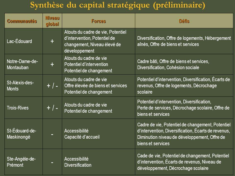Synthèse des dynamiques et stratégies (préliminaire) Communautés Dynamiques communautaires Stratégies délibérées ou émergentes RevitalisationReconversionTourismeVillégiature Diversification économique Protection Biens et services Résidentielle Lac-ÉdouardXXXXXX Notre-Dame-de- MontaubanXXXXX Trois-RivesXXXXX St-Alexis-des- MontsXXXXXX X Ste-Angèle-de- Prémont XXX St-Édouard-de- Maskinongé XX
