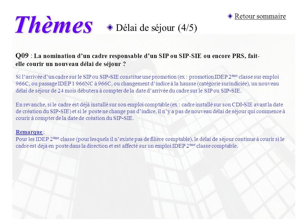 Thèmes Délai de séjour (4/5) Retour sommaire Q09 : La nomination dun cadre responsable dun SIP ou SIP-SIE ou encore PRS, fait- elle courir un nouveau