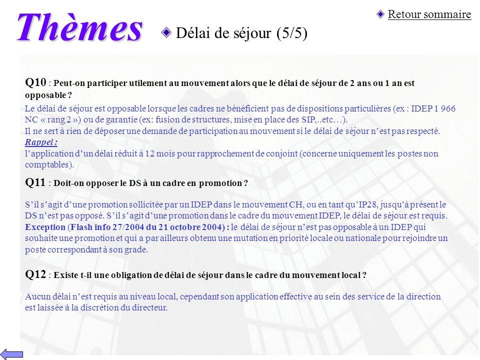 Thèmes Délai de séjour (5/5) Q11 : Doit-on opposer le DS à un cadre en promotion ? Sil sagit dune promotion sollicitée par un IDEP dans le mouvement C