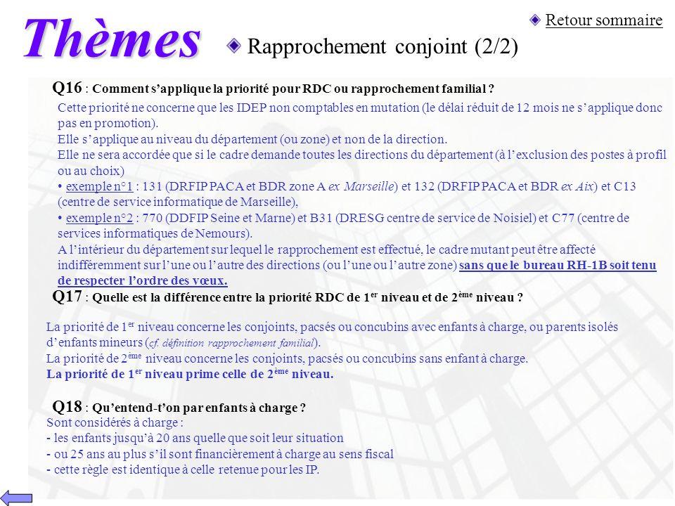 Thèmes Rapprochement conjoint (2/2) Q17 : Quelle est la différence entre la priorité RDC de 1 er niveau et de 2 ème niveau ? La priorité de 1 er nivea