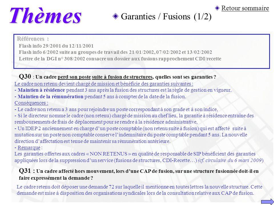 Thèmes Retour sommaire Garanties / Fusions (1/2) Q30 : Un cadre perd son poste suite à fusion de structures, quelles sont ses garanties ? Références :