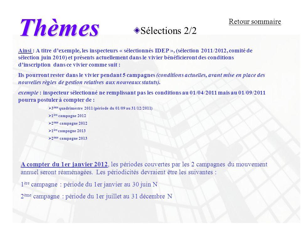 Thèmes Sélections 2/2 Retour sommaire A compter du 1er janvier 2012, les périodes couvertes par les 2 campagnes du mouvement annuel seront réaménagées